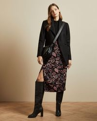 Ted Baker Waterfall-collar Wool And Cashmere-blend Coat - Black