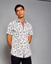 Ted Baker - Oversized Flower Print Shirt - Lyst