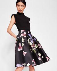 Ted Baker Kensington Floral Full Skirt - Black