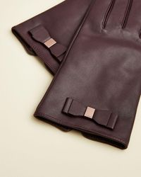 Ted Baker Bblake Leather Bow Detail Gloves - Purple