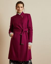 Ted Baker Long Belted Wrap Coat - Pink