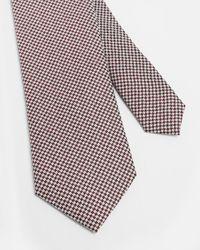 Ted Baker Corbata De Seda Diseño Pata De Gallo - Rojo