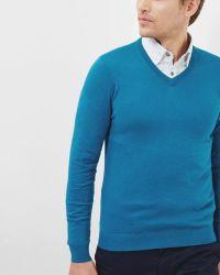 Ted Baker Silk-blend V-neck Sweater - Blue