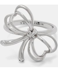 Ted Baker Small Heart Bow Ring - Metallic