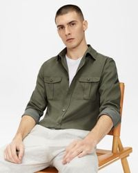 Ted Baker Military Style Shirt - Brown