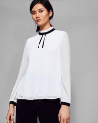Ted Baker - Pleated High Neck Bow Top - Lyst