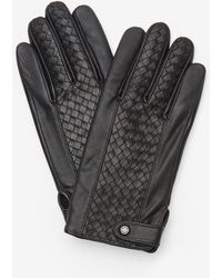 Ted Baker - Braided Weave Panel Leather Glove - Lyst