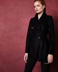 Ted Baker Short Wool Wrap Coat - Black