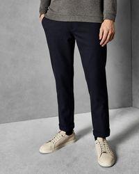 Ted Baker Pantalones Slim Fit De Algodón Con Textura - Azul