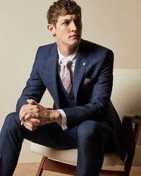 Ted Baker Debonair Wool Check Jacket - Blue