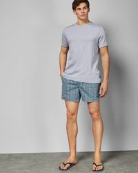 Ted Baker Geo Print Short Swim Shorts - Blue