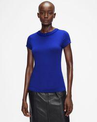 Ted Baker Camiseta Ajustada Con Cuello Volantes - Azul