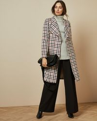 Ted Baker Houndstooth Wrap Coat - White