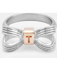 Ted Baker - Bow Sterling Silver Ring - Lyst