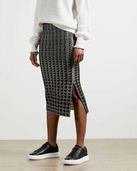 Ted Baker Houndstooth Jacquard Skirt - Black