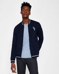 b598b52b8f3c Ted Baker Wool Bomber Jacket in Blue for Men - Lyst