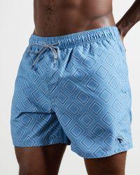 Ted Baker Short De Bain Motif Géométrique - Bleu