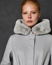 Ted Baker Faux Fur Hooded Wool Parka - Grey