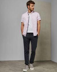 Ted Baker Embroidered Cotton Shirt - Pink
