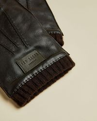 Ted Baker Ribbed Cuff Leather Gloves - Brown