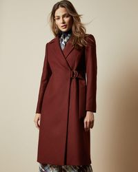Ted Baker Long Belted Wrap Overcoat - Brown