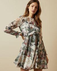 Ted Baker Willow Ruffle Detail Long Sleeved Dress - White