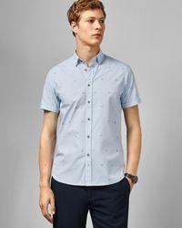 Ted Baker Branded Embroidered Short Sleeved Shirt - Blue