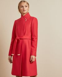 Ted Baker Long Belted Wrap Coat - Red