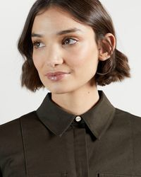 Ted Baker Utility Long-line Tie Waist Shirt - Brown