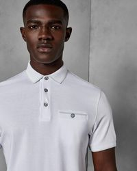 Ted Baker - Flat Knit Collar Cotton Polo Shirt - Lyst