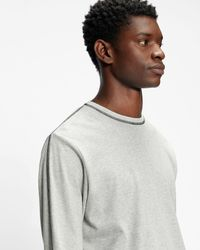 Ted Baker Ls T-shirt With Contrast Stitch - Gris