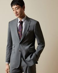 Ted Baker Striped Wool Suit Jacket - Grey