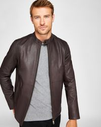 Ted Baker - Mate Leather Biker Jacket - Lyst