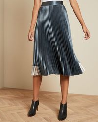 Ted Baker Contrast Panel Pleated Midi Skirt - Blue