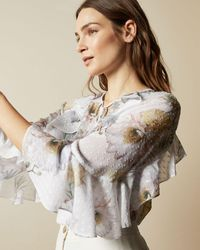 Ted Baker Woodland Ruffle Top With Keyhole Detail - White
