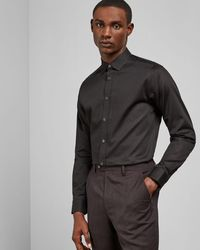 Ted Baker Stretch Cotton Shirt - Black