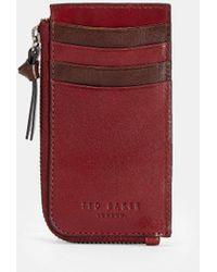 Ted Baker Leder-kartenetui Mit Zipper - Rot