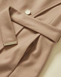 Ted Baker Rose Wrap Wool-blend Coat - Natural