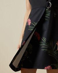 Ted Baker Highland Wrap Detail Skater Dress - Black