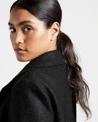 Ted Baker Faux Fur Collar Wrap Coat - Black