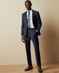 Ted Baker Debonair Twill Wool Pants - Blue