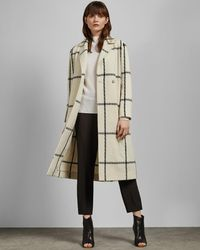 Ted Baker Checked Wool Long Coat - White