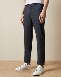 Ted Baker Pantalón De Algodón Slim Fit Diseño Semiliso - Azul