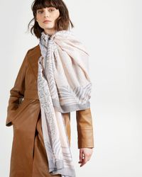 Ted Baker Animal Print Wide Scarf - Natural