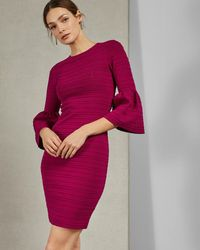 Ted Baker Bell Sleeve Bodycon Dress - Pink
