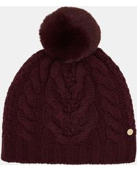 Ted Baker Cable Knit Wool Blend Pom Pom Hat - Purple