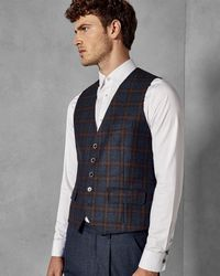 Ted Baker - Wool Checked Waistcoat - Lyst