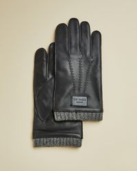Ted Baker Ribbed Cuff Leather Gloves - Blue