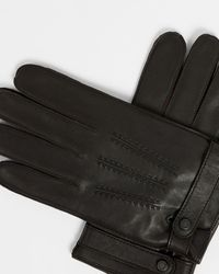 Ted Baker Top Stiched Leather Gloves - Black