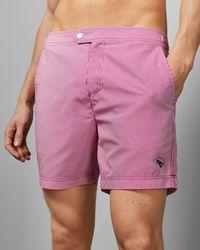 Ted Baker Stripe Print Swim Shorts - Pink
